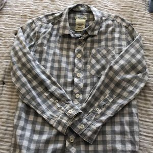 Boys Grey and white gingham check button down